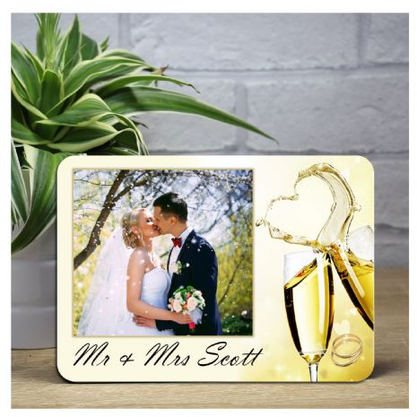 Personalised Champagne Flutes Wedding Wood Photo Panel Print F17